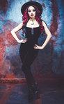 N1289 Necessary Evil Gothic Velvet Venus Skinny Jumpsuit