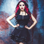 Necessary Evil Lucina Mesh and Leatherette Mini Skirt