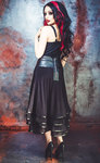 Necessary Evil Lucina Mesh and Leatherette Midi Skirt
